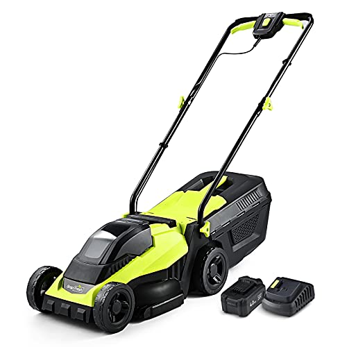 SnapFresh Cordless Lawn Mower, 14 Inch Electric Lawn Mower with Brushless...