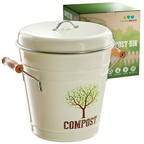 Third Rock Kitchen Counter Compost Bin – 1.0 Gallon Compost Pail with...