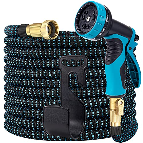 LOOHUU Expandable Garden Hose 100ft, Water Hose with 10 Function Nozzle,...